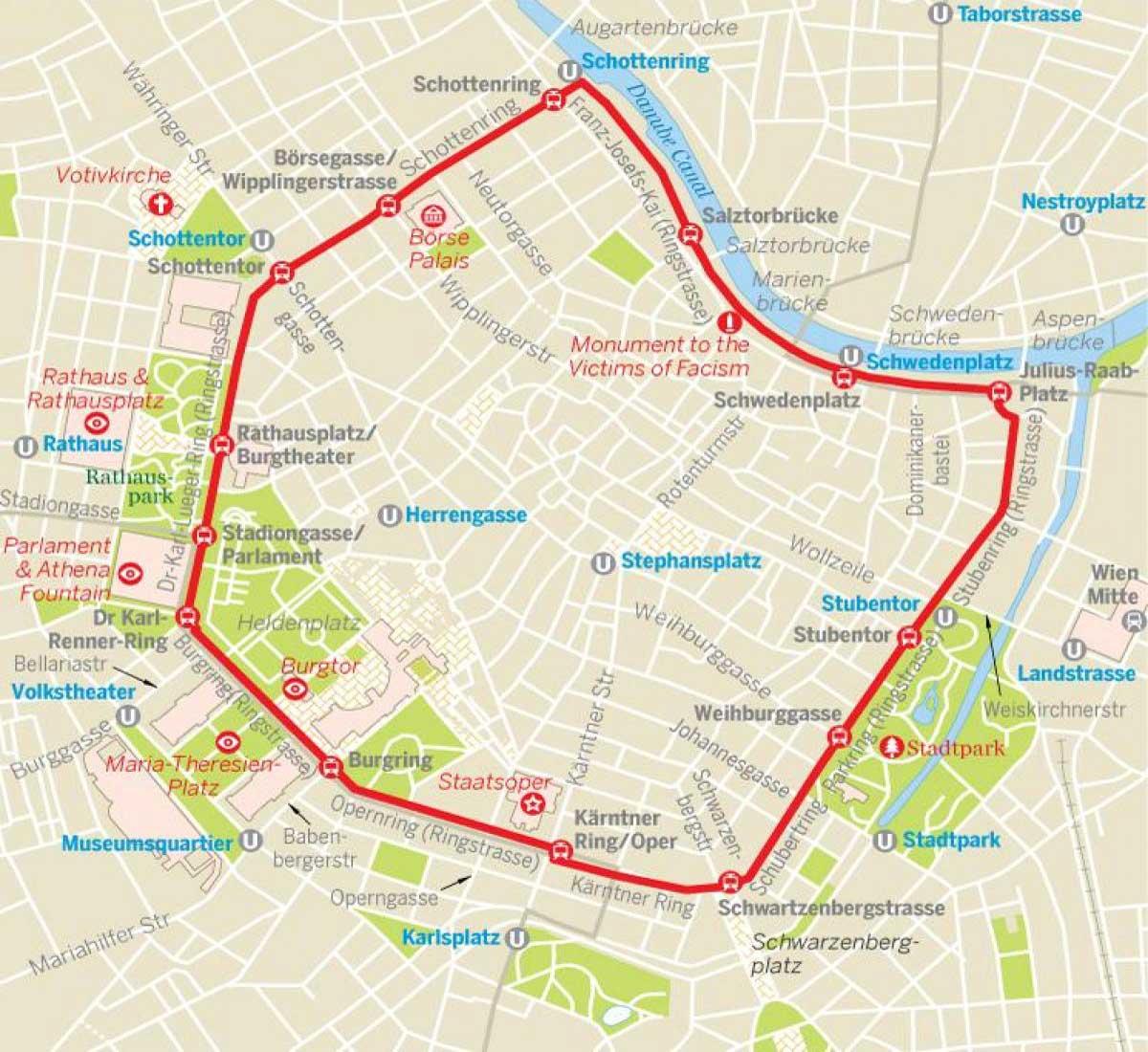 Mapa Viena Ring Tram